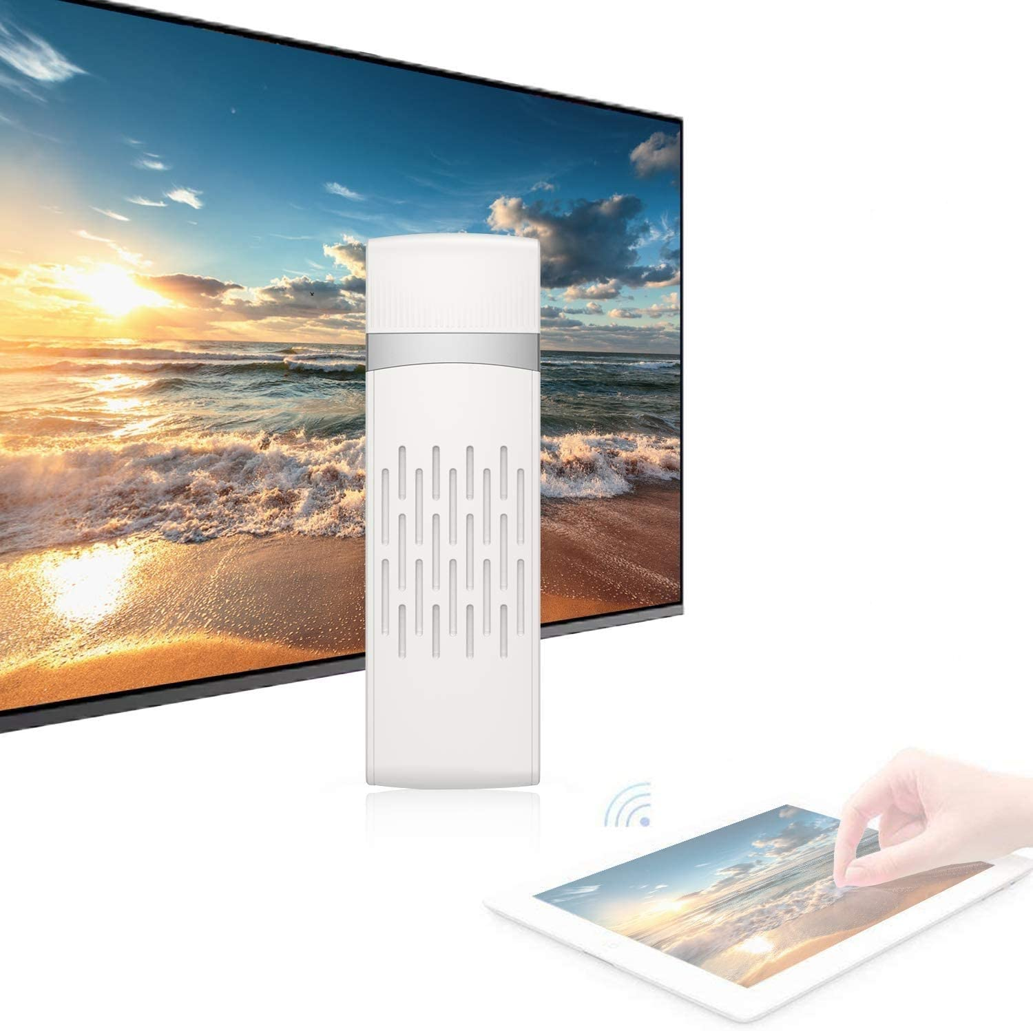 BOMAKER Wireless Display Adapter, Supports Wireless and Wired 2 in 1 Display Receiver for Projector/TV
