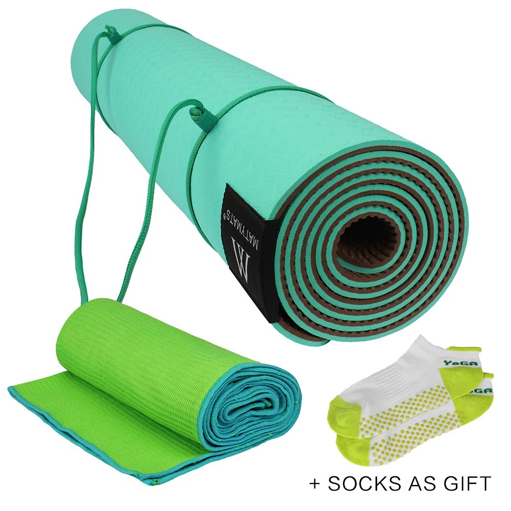 Matymats Yoga Kit - Non Slip Yoga Mat TPE Thick 1/4, 72×24 + Skidless Yoga Towel Yoga Starter Sets for Hot Yoga, Pilate, Gymnastics, Bikram, ...