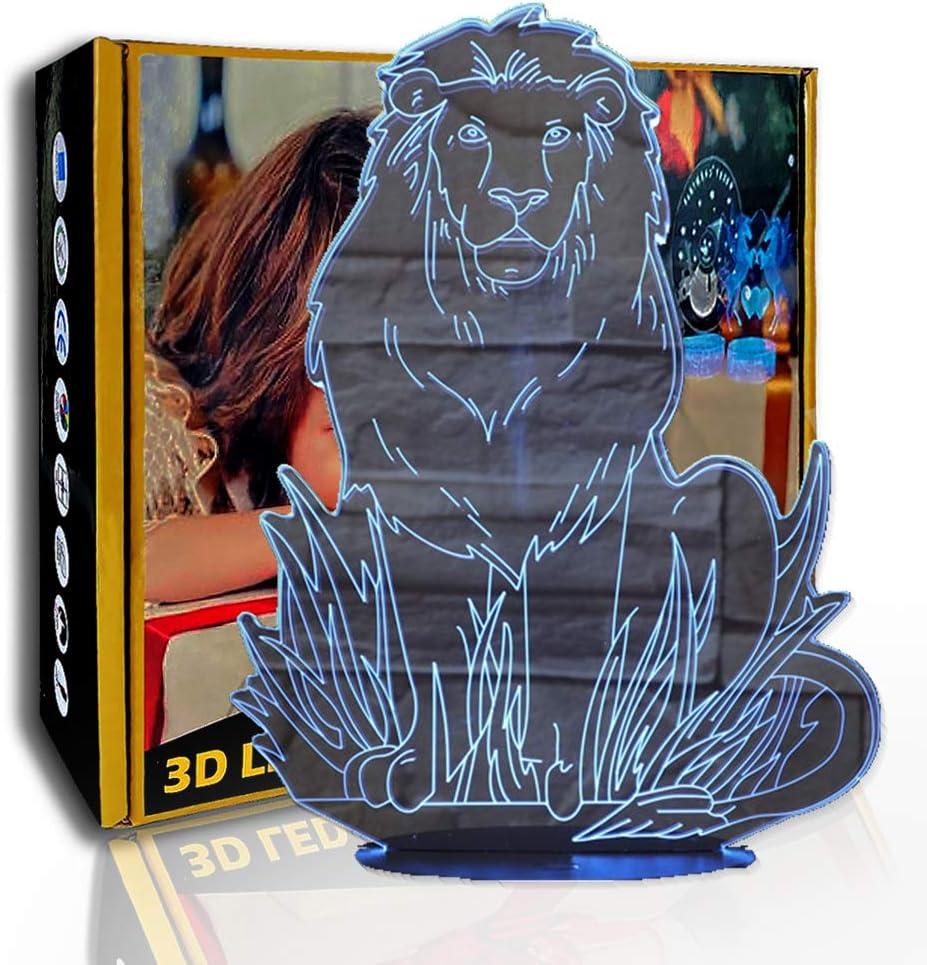 JINYI LED Luz nocturna Forest Hembra León, Lámpara de ilusión 3D, Lámpara de inicio, B- Base negra remota (7 colores), Regalo para niño, Lámpara cálida