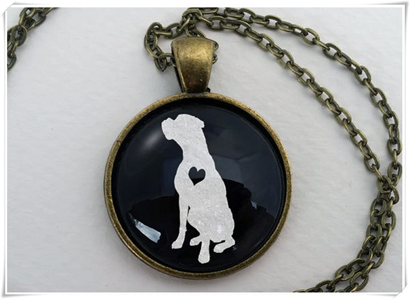 Boxer Necklace, Cute Dog Lover Gift,Dome Glass Ornaments, Pure Handmade wish dandelion