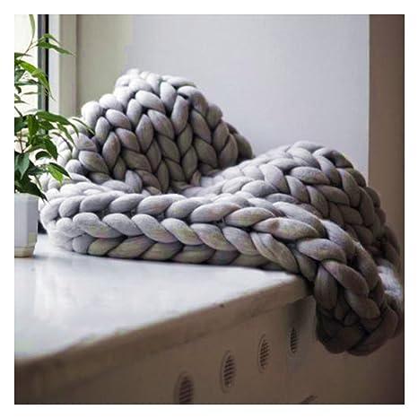 Manta de lana gruesa hecha a mano, suave y cálida, para decoració