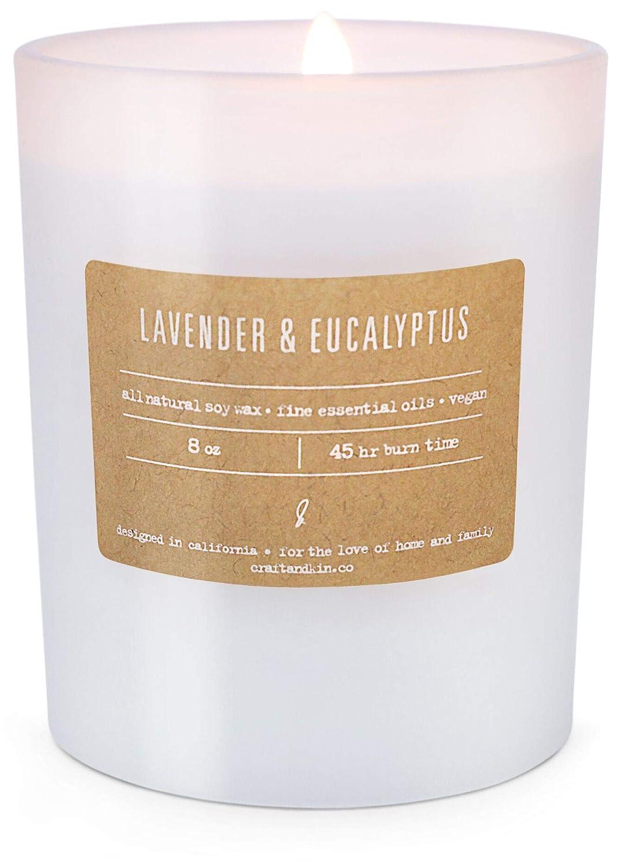 Craft & Kin 香り付きキャンドル ソイキャンドル ホワイトフロストガラス  Lavender & Eucalyptus B07L3BM3S6