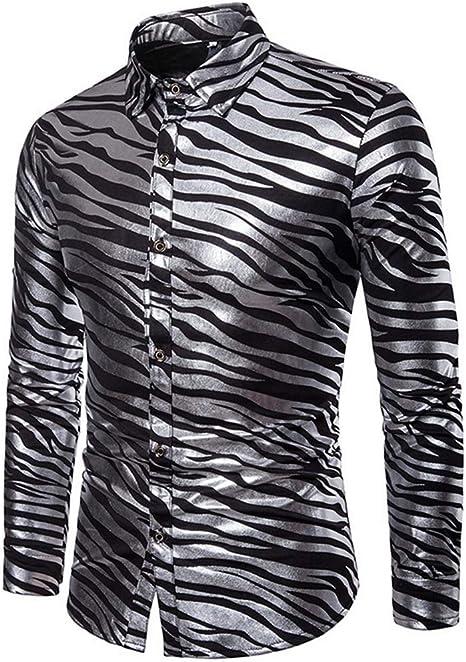 SFHK Hombres Manga Larga Botón Camisa Blended Algodón Estampado Moda Cebra Raya Impresión Blusa Casual Camisas: Amazon.es: Deportes y aire libre