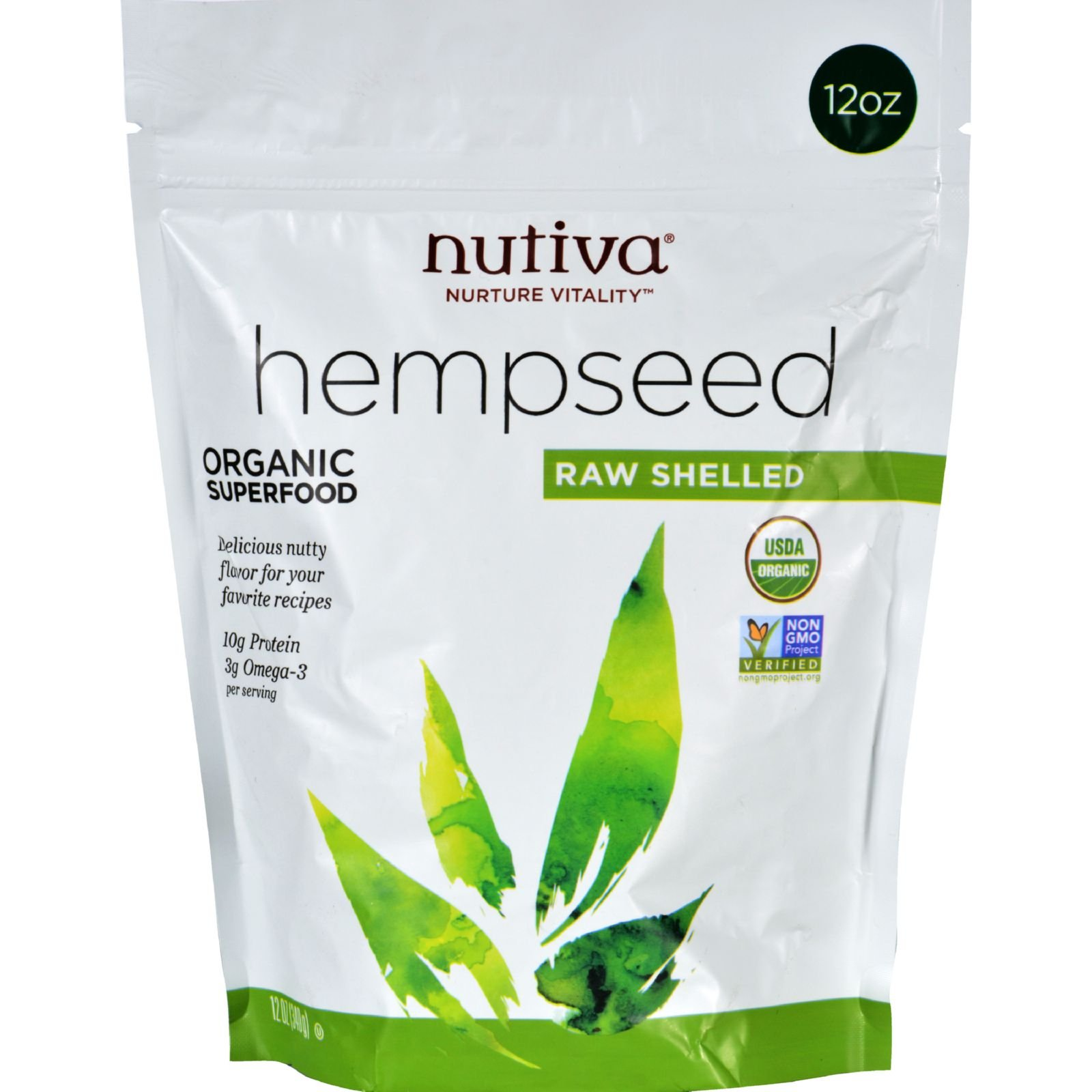 Nutiva Hempseed - Organic Superfood - Raw Shelled - 12 oz - With Protein and Omega 3 - Non GMO