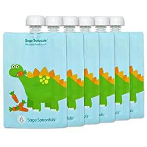 Reusable Baby Food Storage Pouches | 6 Pack | 7oz | Leakproof | Easy to Fill No Funnel Required | Easy to Clean | Freezer & Dishwasher Safe | BPA, Lead, Phthalate & PVC Free | for Babies & Kids