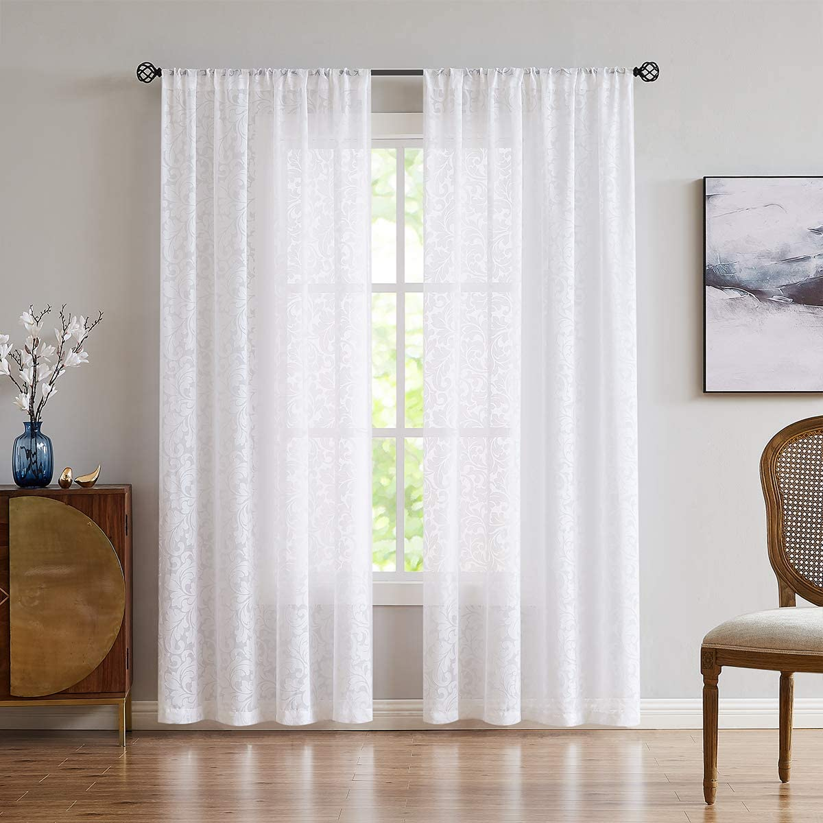 Treatmentex Sheer White Curtains for Bedroom with Scroll Leaf Pattern 95 Long Transparent Rod Pocket Voile Window Draperies 54 x2Panels