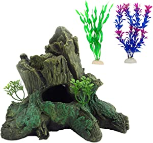 Tfwadmx Root Driftwood for Aquarium,Natural Resin Tree Trunk Aquarium Decor Freshwater Ornament Fish Tank Branches Hideout Cave Betta Log with 2 Pack Seaweed Water Plants