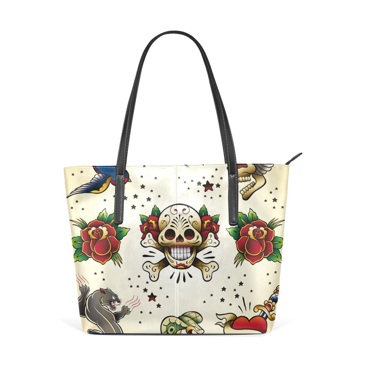 Womens Leather Top Handle Shoulder Handbag Art Large Work Tote Bag