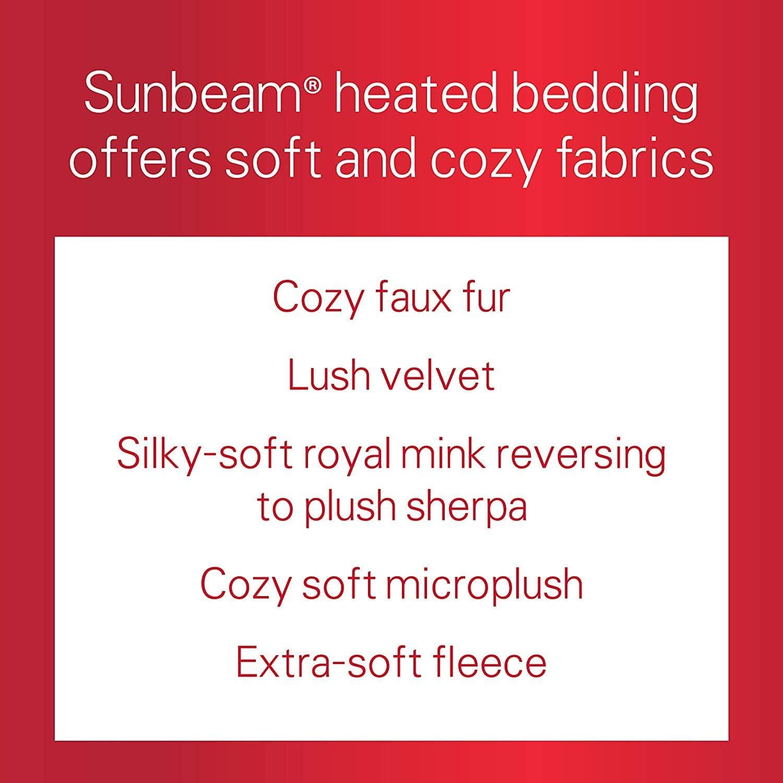 Sunbeam Heated Blanket | 10 Heat Settings, Quilted Fleece, Mushroom, Full - BSF9GFS-R772-13A00: Home & Kitchen