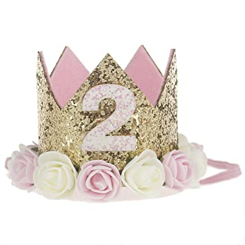 Baby Birthday Party Sparkle Golden Crown Flower Hats Headbands Hair Accessories Pink And White