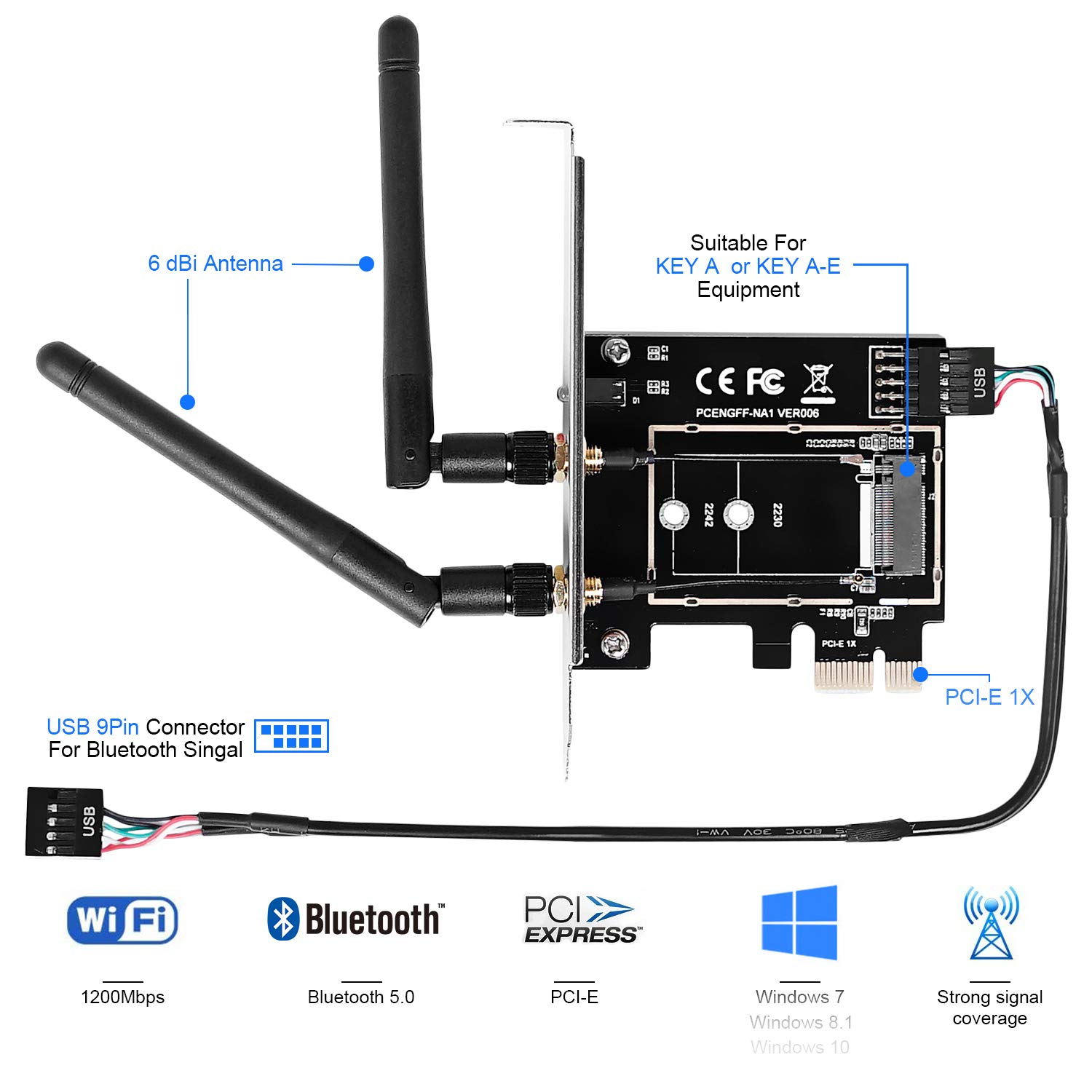 MZHOU Wireless Network Card Adapter M.2 NGFF to PCI-E 1X WiFi Network Card Converter,PCI-E M.2//NGFF Card Passive Adapter with Dual-Band 2.4//5G Antenna,for WiFi and Bluetooth Card. Not Including WiFi