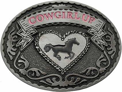 Womens Cowgirl Up Rodeo Western Horse Oval Belt Buckle Boucle de ceinture