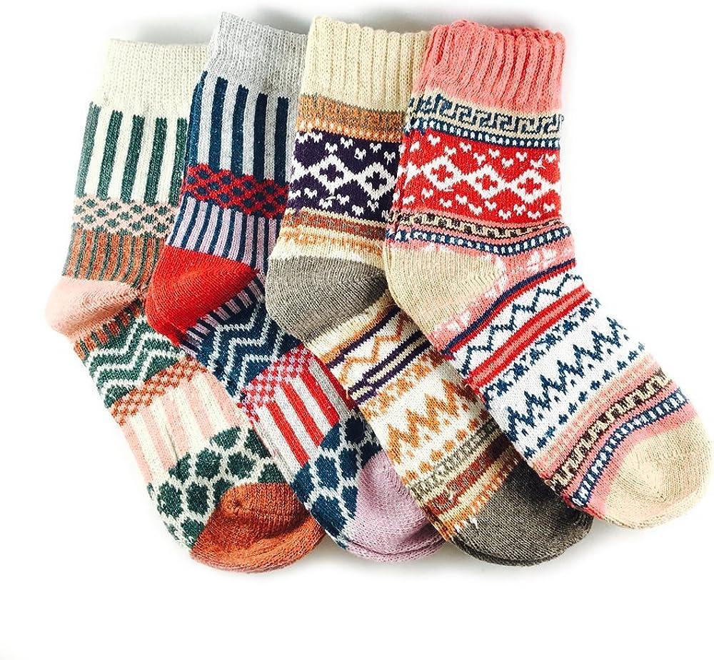 JOYCA & Co. 3-5 Pairs Womens Multicolor Fashion Warm Wool Cotton Thick Winter Crew Socks