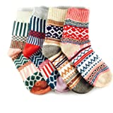 JOYCA & Co. 3-5 Pairs Womens Multicolor Fashion Warm Wool Cotton Thick Winter Crew Socks