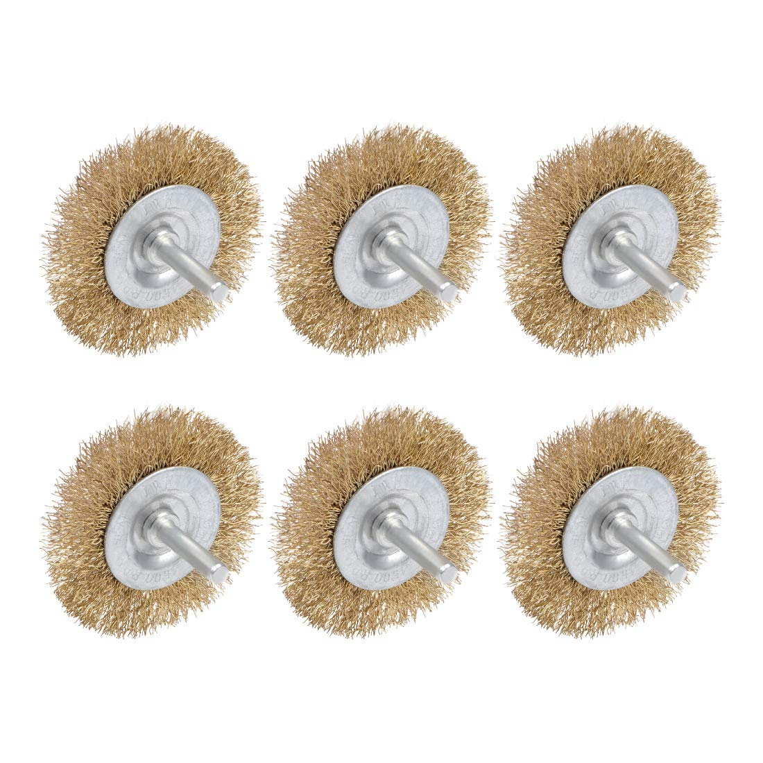 uxcell Wire Wheel Brush with Shank Bench Copper Plated Crimped Steel 2-1//2Inch Wheel 0.012-inch Wire Dia 6 Pcs
