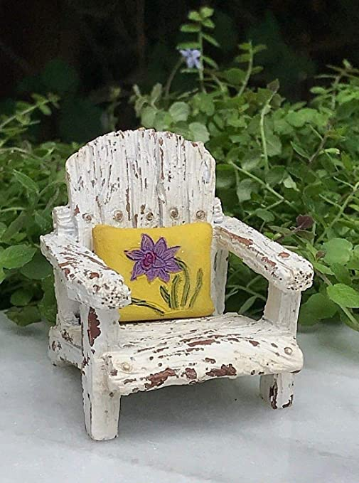 Magic Miniature Dollhouse Fairy Garden Accessories Front Porch Chair W  Yellow Pillow Mini Garden Scene