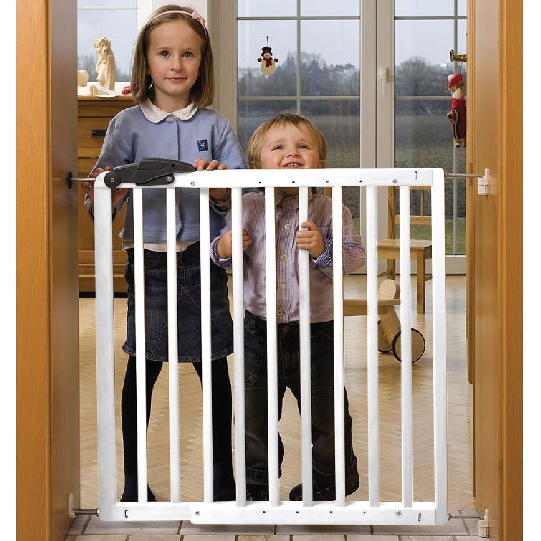 Barrera de seguridad Nicolas 78,5-113,5cm, de madera, blanca Bambino World