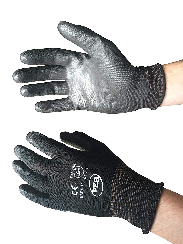 Black Nylon PU Palm Coated Glove, Large (Pack of 12) PWS NB9/L