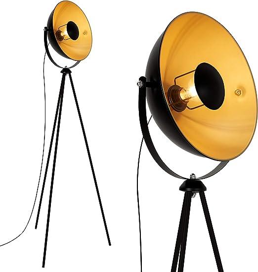 Briloner Leuchten 1380-015 Lámpara de pie Retro/Vintage, Estilo Industrial, Iluminación de Salón, Máx. 60 W, E27, negro/oro, 580x345x1480mm (Largo x Ø x Alto), schwarz-gold-matt