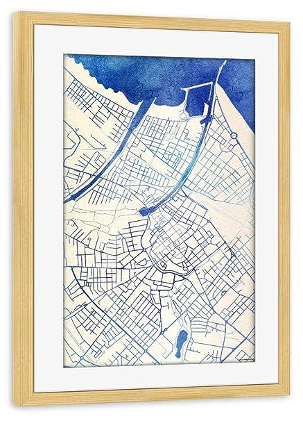 Artboxone Framed Poster Pine Wood 30x20 Cm Rimini Italy Blue