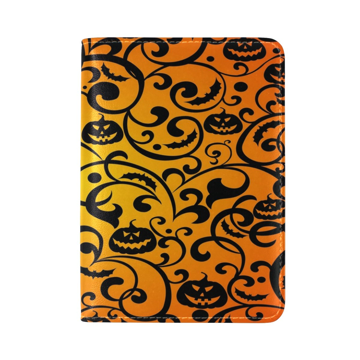 ALAZA Halloween Damask Pumpkin Leather Passport Holder Cover Case Travel One Pocket