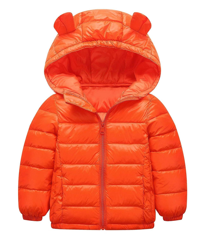 Newborn Girls Winter Outerwear Light Windproof Coat Down Cute Hoodie Cartoon Long Sleeve Jacket Warm Zipper Outwear Solid Clothes for Casual Pink 4t Happy Cherry