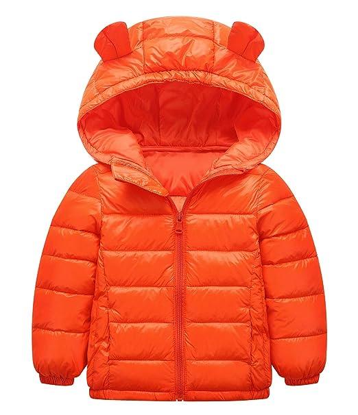 7c28aca8c Happy Cherry Toddler Girls Cotton Outwear Solid Print Coat Light Cute Hoodie  Puffer Down Jacket Warm