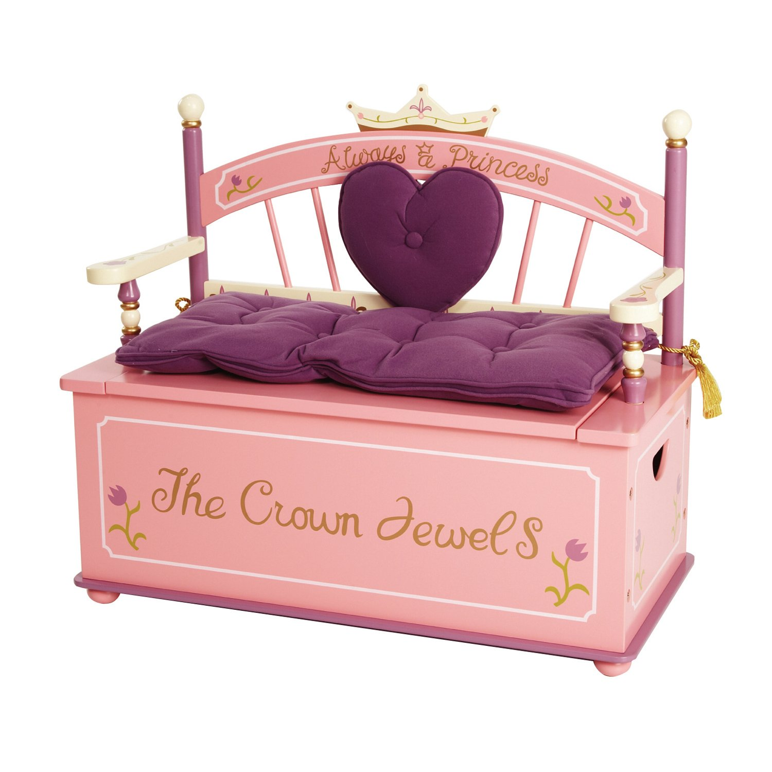 Wildkin Princess Bench Seat with Storage, Features Removable Plush Cushions, Two Side Handles, and Pinch-Proof Safety Hinge, Perfect for the Little Princess in Your Life – Pink