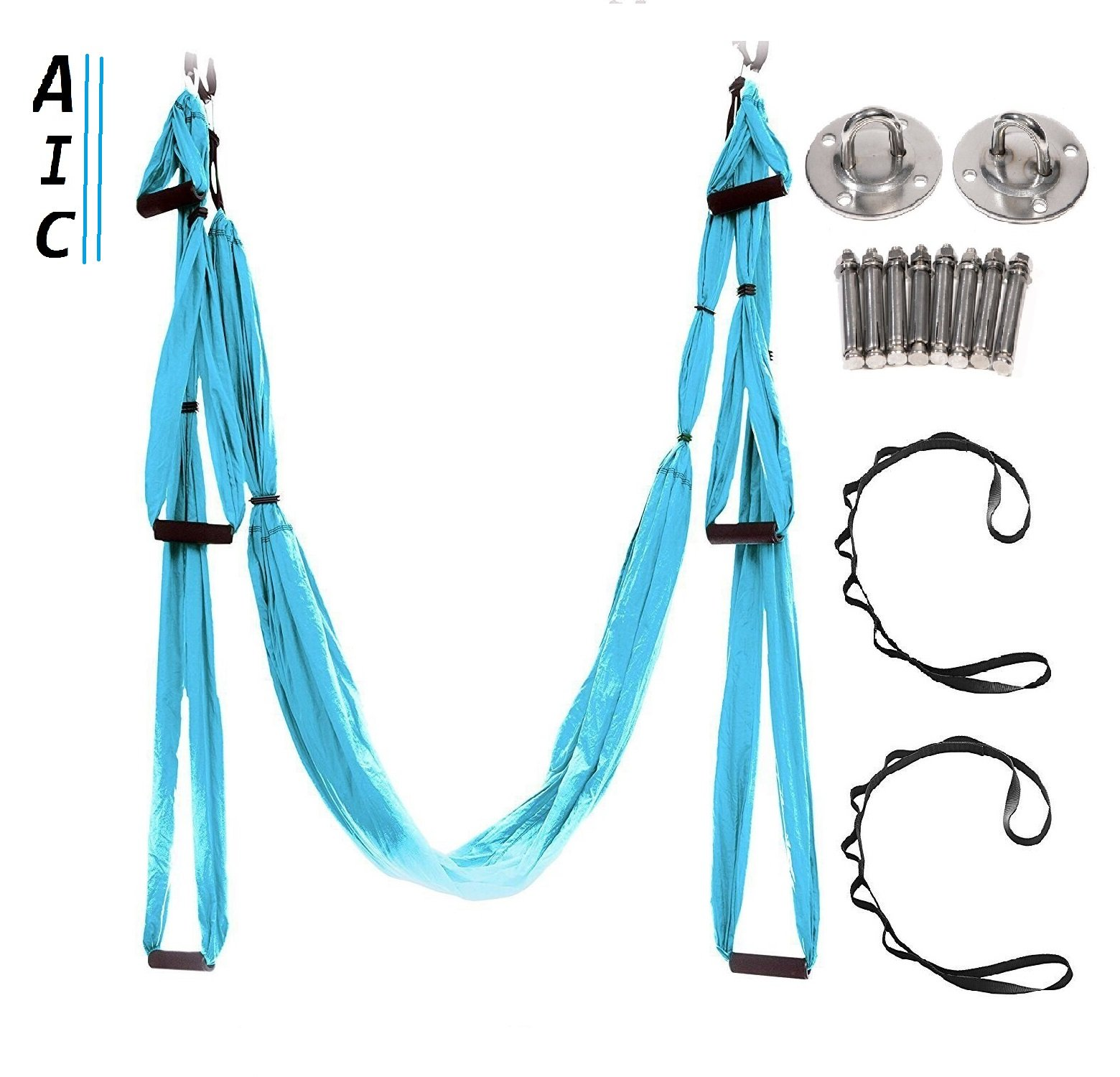 AIC Yoga Swing - Ultra Strong Antigravity Yoga Hammock/Trapeze/Sling for Antigravity Yoga with Adjustable Handles and 2 Extension Straps and Installation Hardware Include Carrying Bag (biue)