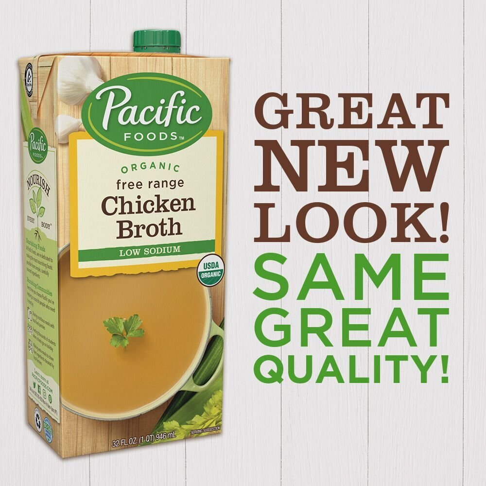 Pacific Foods Organic Low Sodium Chicken Broth, 32-Ounce Containers (Pack of 12)