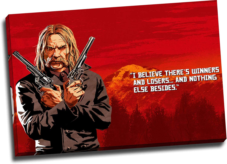 Ariago Red Dead Redemption 2 impresiones de pintura modernas de 71 x 50 cm, enmarcadas para videojuegos, póster de Micah Bell para baño, tensado y listo para colgar.: Amazon.es: Hogar