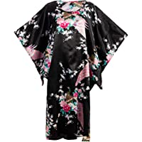 Asian Home Flower Peacock Satin Silk Kimono Dress, Nightgown, Housedress One Size Fits Most Dressing Gown Robe