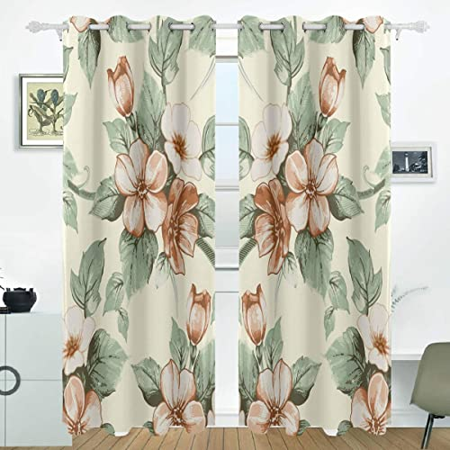 LORVIES Yellow Flowers Floral Pattern Blackout Curtains Darkening Thermal Insulated Polyester Grommet Top Blind Curtain