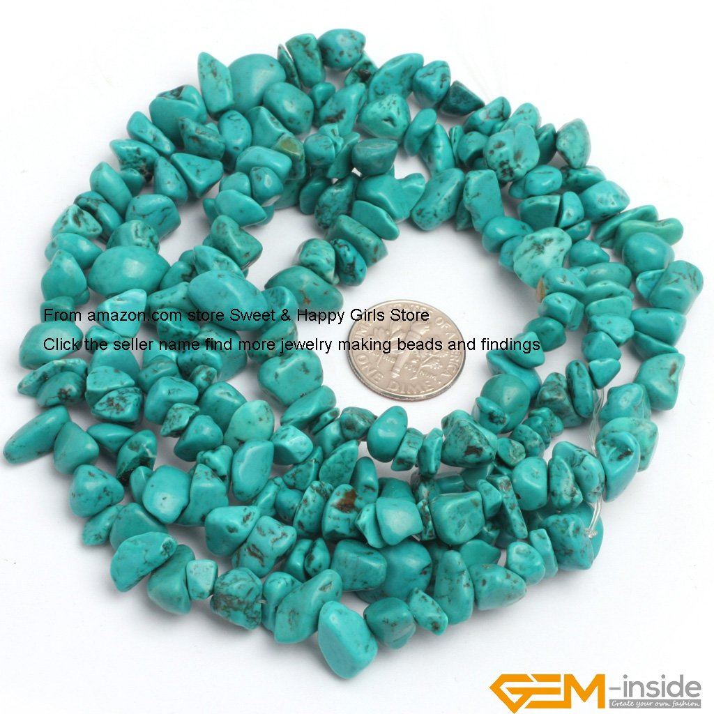 SHG Store 7-8mm Freeform Chips Gemstone Turquoise Beads Strand 15 Inch Agate Chips for Bracelet Necklace Earrings Jewelry Making Crafts Design Healing Wholesale Loose Beads