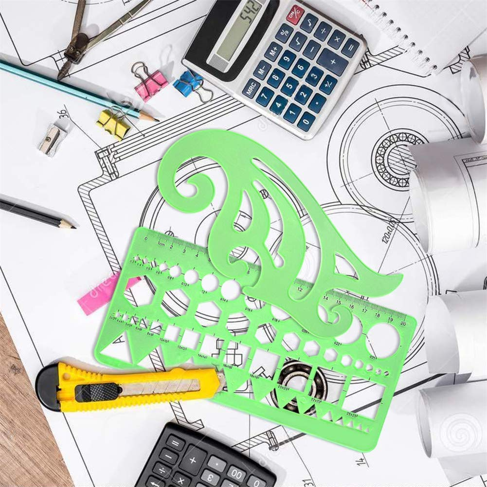 11pcs Drawing Template Ruler Stencils Tool Include Architectural Ruler,French Curve Template,Circle Template,Geometric Stencil Plastic Rule for School Studying and Office Design by Fatpig (Image #7)