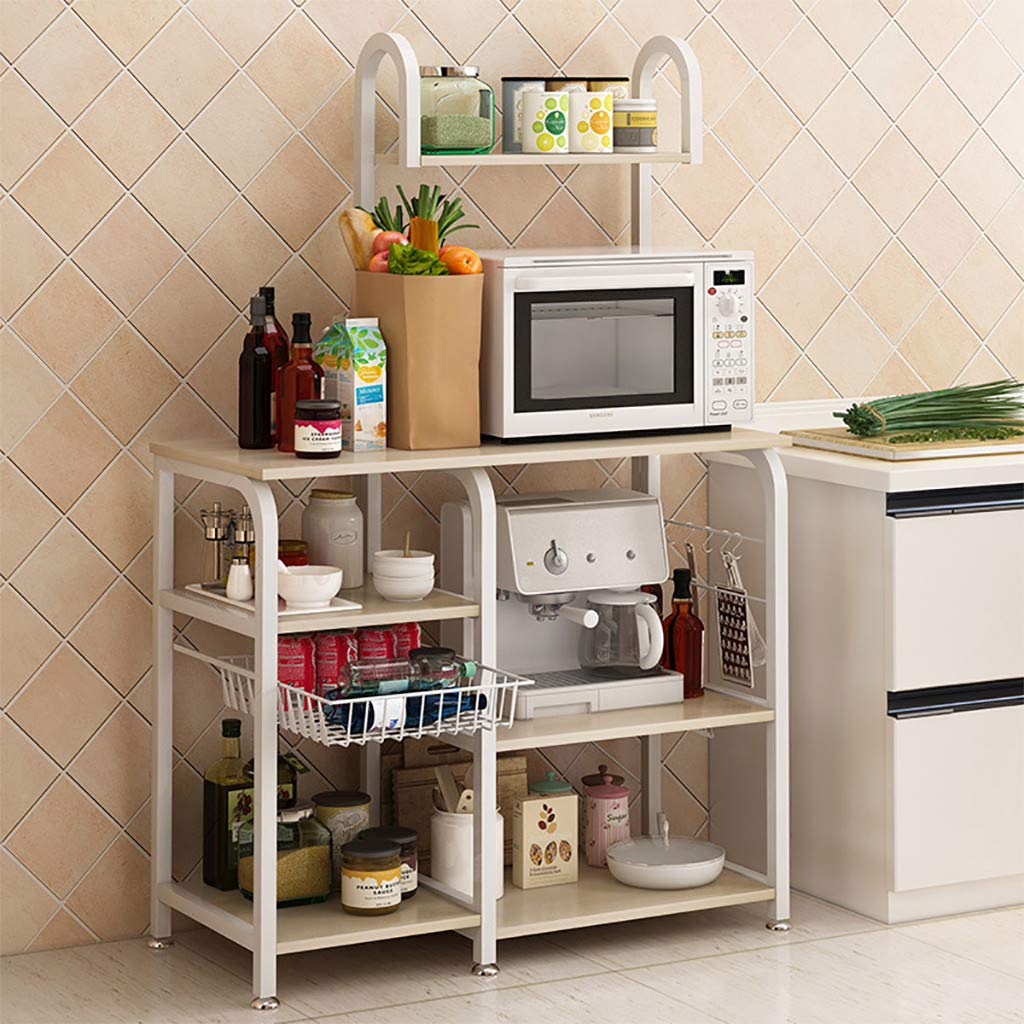 Multi-Functional Kitchen Baker's Rack, 4-Tier+3-Tier Utility Microwave Oven Stand Storage Cart Shelf for Spice Rack Organizer Workstation with 5 Hooks (White)