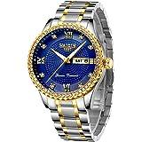 Mens Classic Diamond Gold Watches for Men Stainless Steel Waterproof Dress Watch Man Quartz Analog Wristwatch Luminous Clock