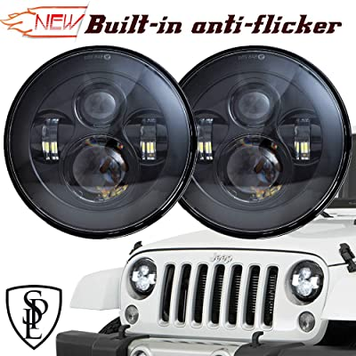 SPL Classic 7'' Inch Cree Chips LED Headlights for Jeep Wrangler 97-2020 JK TJ LJ Hummber H1 H2(Black Pair): Automotive