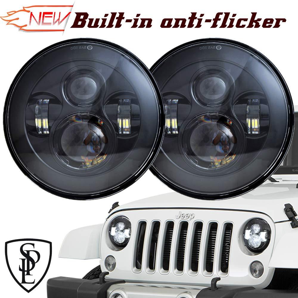 SPL Classic 7\'\' Inch Cree Chips LED Headlights for Jeep Wrangler 97-2017 JK TJ LJ Hummber H1 H2(Black Pair) 4333012267