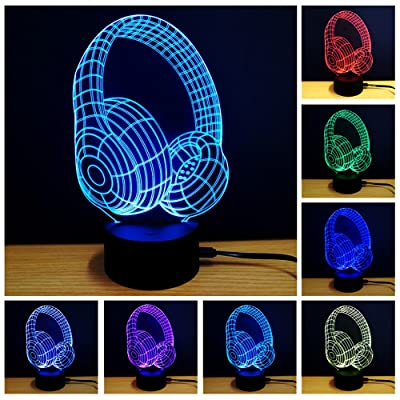YANGHX 3D Night Light Headphone Shape Touch Table Desk Lamps 7 Color Changing Lights (Color Multicolor): Home & Kitchen