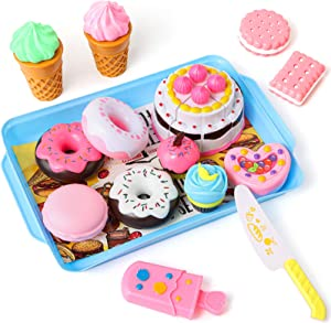 LovesTown Desserts Food Toy, 15 Pcs Kids Play Food Set Toddlers Pretend Toy Food Pretend Tea Party Food Fake Food Toy for Kids Birthday Gift