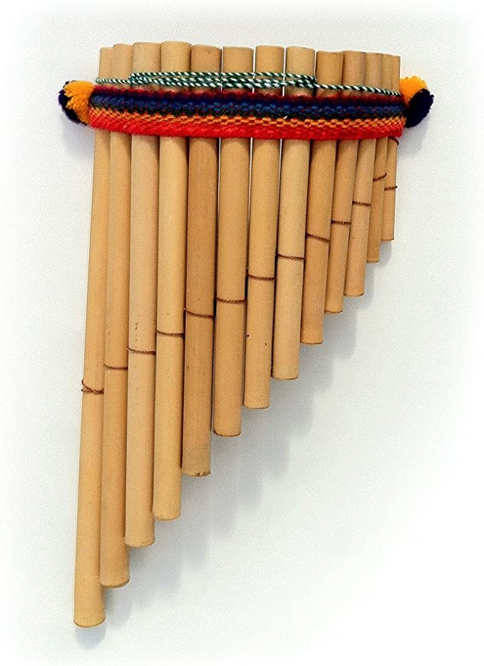 Zampona Peruvian Pan Pipes Fair Trade Instrument from Peru 13 Pipes on Two Rows