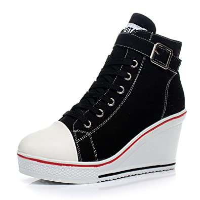 Amazon.com | Carolyn Jones Canvas Shoes Wedges Badge High Top Platform Shoes Woman White Black Casual | Walking