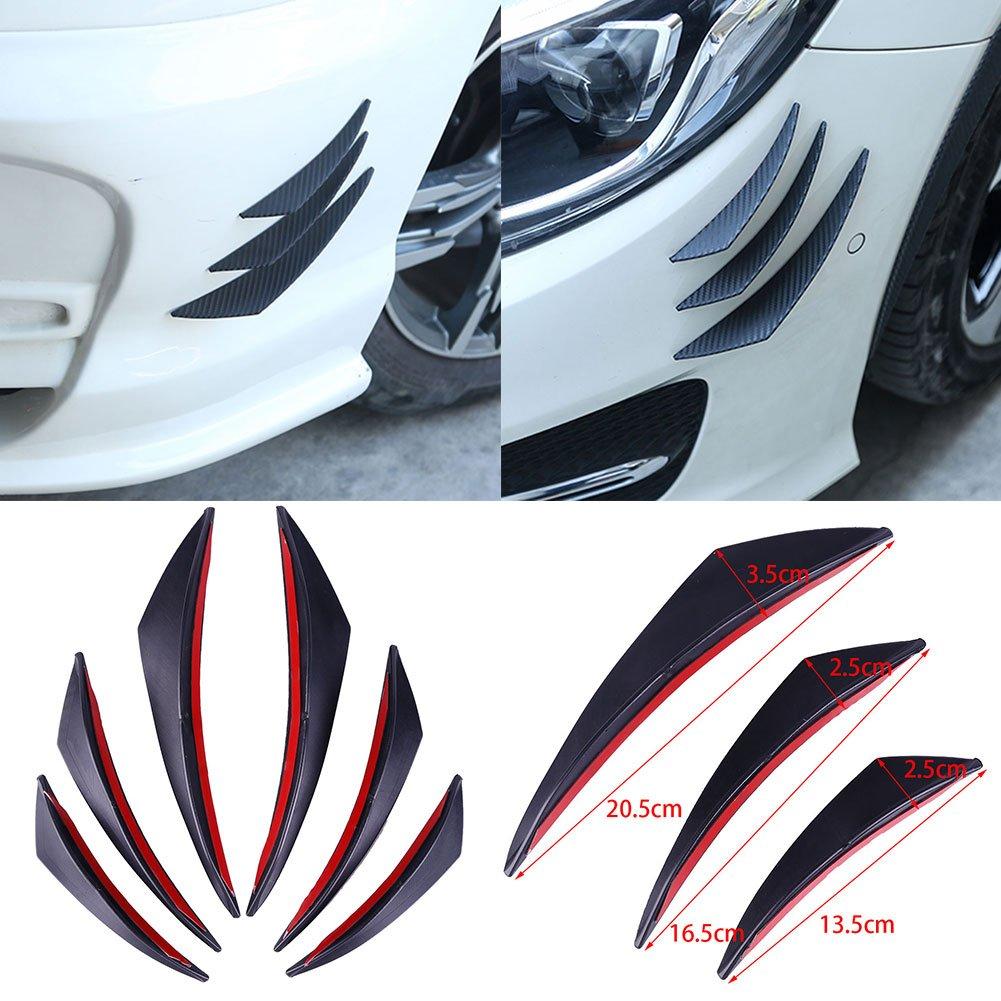 Zhuotop Lot de 6 Pcs Universel ABS Carbon Fibre Avant à lèvres ailettes répartiteur Corps Spoiler Canards Valence Menton Pare-Chocs