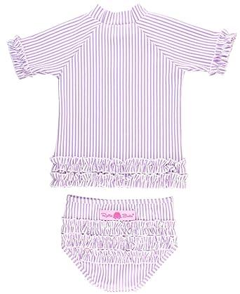 792d2fb77c Amazon.com: RuffleButts Baby/Toddler Girls Seersucker Rash Guard 2-Piece  Short Sleeve Swimsuit Set with UPF 50+ Sun Protection: Clothing