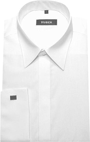 HUBER Umschlag-Manschetten Hemd schwarz Mansch.knopf HU-4012 Regular Fliege