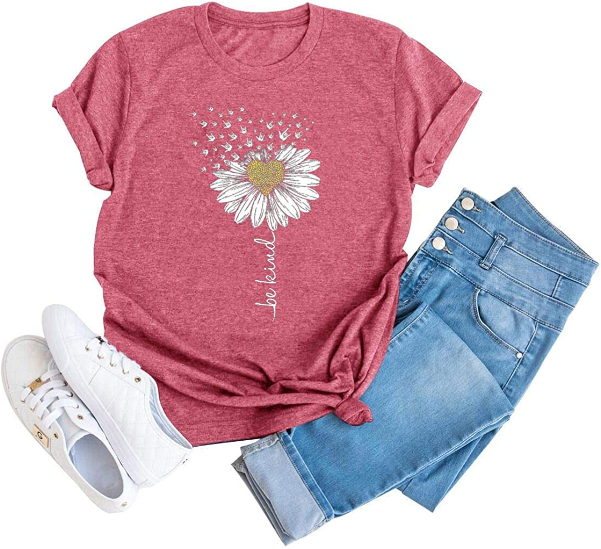 Be Kind Shirt Women Sunflower Graphic Tee Wildflower Short Sleeve Inspirational Tops