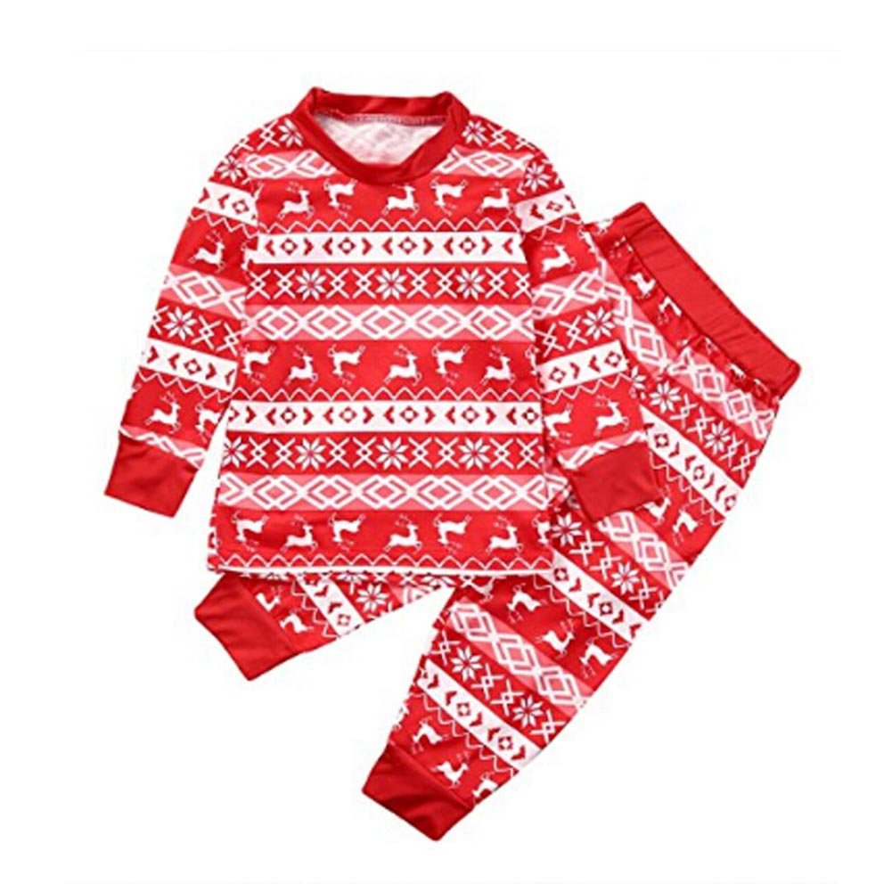 Family Matching Christmas Pajamas Set,Wongfon Sleepwear Nightwear Pyjama Father Mother Kids Newborn Romper Tops Pants Set