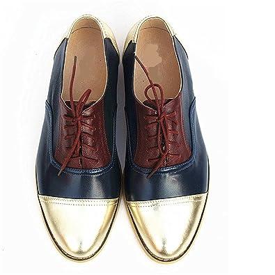 Frozac Mujeres de Cuero genuino Zapatos Oxford Mujer Hecho a Mano Vintage Retro Encaje mocasines Brown