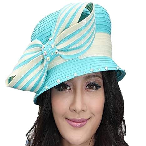 fcf801cb269 June s Young Elegant Ladies  Church Hat Kentucky Derby Hats (Light Pink  with Blue) at Amazon Women s Clothing store